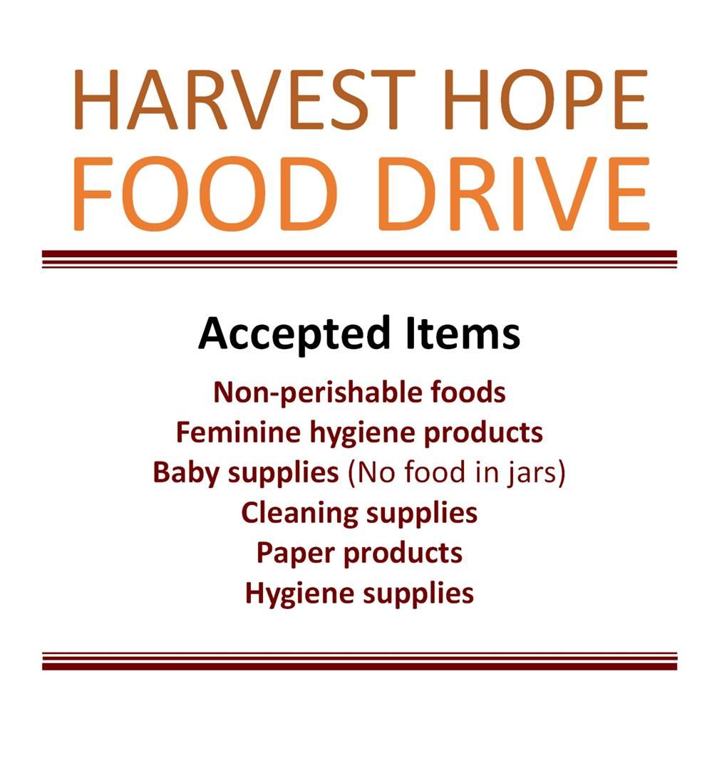 One Day/One Dollar and Food Donations for Harvest Hope